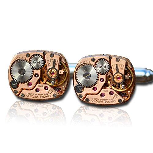 Omega Uhrwerk Manschettenknöpfe Steampunk Herren Mechanik Armbanduhr