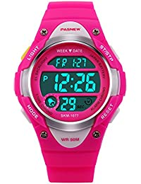 Hiwatch Kids Sport Watch Outdoor Waterproof Swimming LED Digital Watch with Alarm Back Light Stopwatch for Boys Girls 7+ Years Old Rot