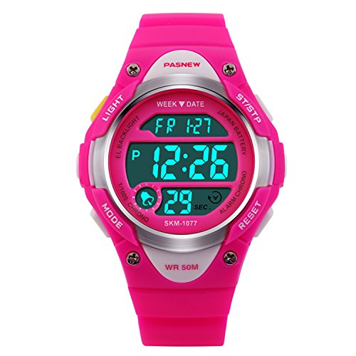 Hiwatch Kids Sport Watch Outdoor Waterproof Swimming LED Digital Watch with Alarm Back Light Stopwatch for Boys Girls 7+ Years Old Pink, Best Gift for Kids Christmas