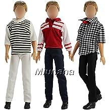 Miunana 3 Juegos de Moda Ropa Traje Casual Vestir Camisa Pantalones para Novio Ken Príncipe Muñeco Barbie