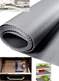 Homies 1 Piece Useful And Multipurpose Full Length 5 Meter (45 X 500) Anti Slip Grip, Non Slip Liner, Skid Resistant Mat, Material PVC. Color: Gray