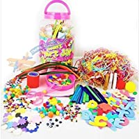 Mega Craft Jar Childrens Kids Giant Art Set Pom Poms Beads Paper Foam Letters