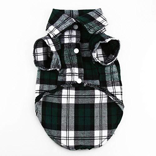 ine Hund Welpen Kariertes T-Shirt Revers Mantel Katze Jacke Kleidung Kostüm Grün S ()