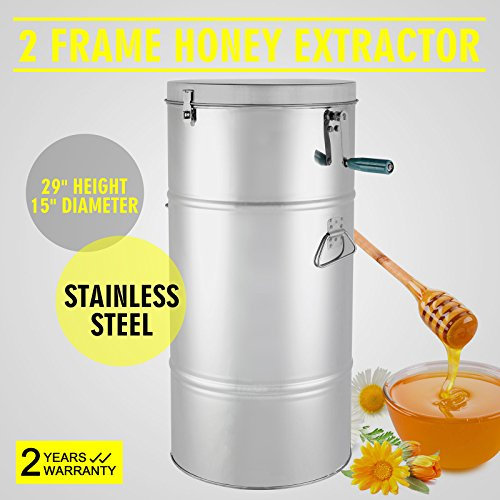 FinbFbay Honey Extractor Manual Honey Extractor Honeycomb Spinner 2 Frame Stainless Steel Manual Beekeeping Supply Beehive Processing (2 Frame) Test