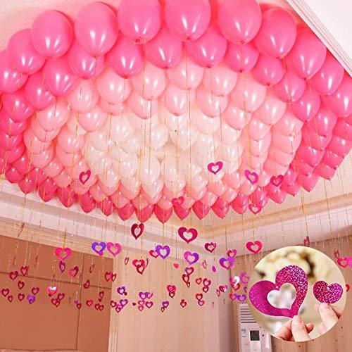Topsent 100 pacchi palloncini da 12 pollici impegno a sorpresa articoli per feste, 3 colori palloncini e bling foil a forma di cuore decorazione a sospensione per nozze, san valentino