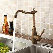 OOFAY TAPS® Estilo Individual de control Rústico Baño Grifo Antiguo acabado baño grifo del fregadero con la porcelana buena calidad (Cobre)