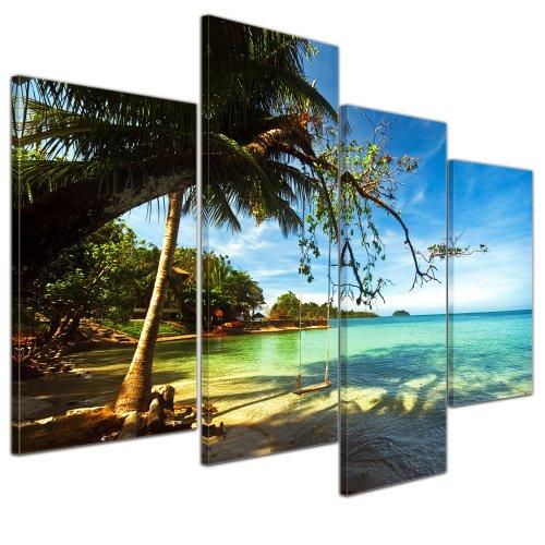 Wandbild - Tropical Beach Under Blue Sky - Thailand - Bild auf Leinwand - 120x80 cm 4 teilig - Leinwandbilder - Bilder als Leinwanddruck - Landschaften - Asien - Schaukel am Strand - Strand Leinwand Drucken