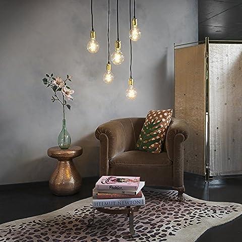 QAZQA Modern Esstisch / Esszimmer / Puristische Pendelleuchte / Pendellampe / Hängelampe / Lampe / Leuchte Cava 5-flammig Gold / Messing / Innenbeleuchtung / Wohnzimmer / Schlafzimmer Metall Rund / Länglich / LED geeignet E27 Max. 5 x 60 Watt
