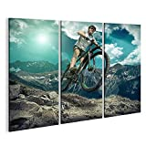 islandburner Bild auf Leinwand Wandbild Leinwandbild Bilder Poster Downhill Mountain Bike Unter Himmel mit Wolken. Wandbild, Poster, Leinwandbild