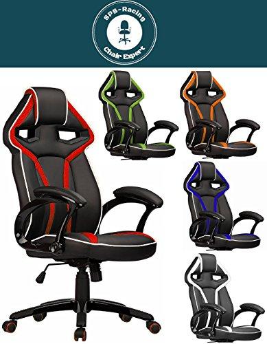 Master Racing Bürostuhl Chefsessel Drehstuhl Schreibtischstuhl Gaming Zocker Stuhl Office Chair (schwarz/rot) -