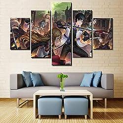 ZCOP Anime Épée Art en Ligne Photo Impression Affiche Toile Imprimer 5 Pièces Peinture sur Toile Chambre Décoration Maison Peinture Décoration,A,20×35×220×45×220×55×1