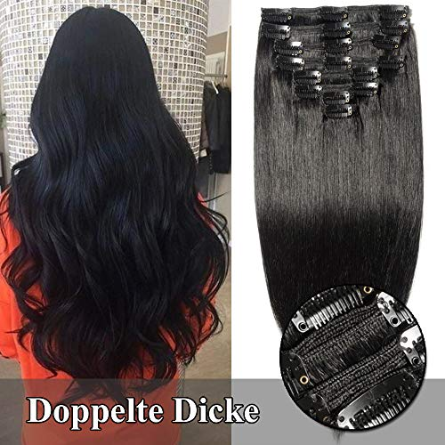 TESS Clip in Extensions Echthaar Haarteile guenstig Haarverlängerung Doppelt Tressen für komplette Haarextension 8 Teile 18 Clips Glatt 7A Dick Hair (60cm-170g, 1 Schwarz) -
