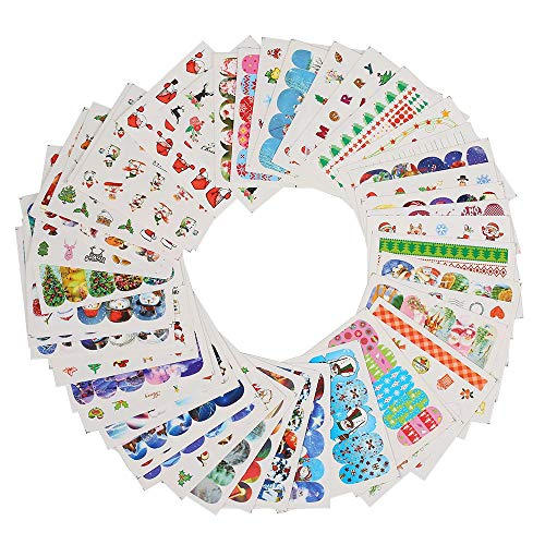 Anself 48 Stück Nail Art Sticker Weihnachten Winter Schneemann Muster DIY Nails Dekorationen Tipps - 0.4 Unzen-nail