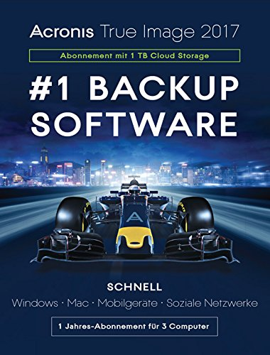 Acronis True Image Subscription 3 Computers + 1 TB Acronis Cloud Storage - 1 year subscription [PC Download]