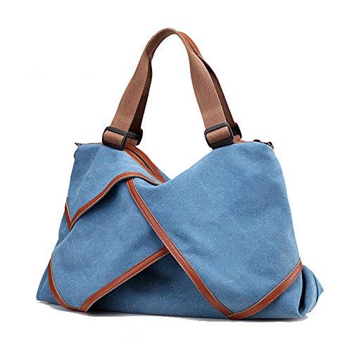 Uniqstore Damne Segeltuch Multi-Funktionen Größe Handtasche Schultertasche Umhängetasche Blau Blau