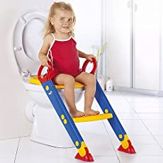 Egab Kids Polypropylene Toilet Potty Trainer Chair with Ladder Step Up Training Stool (Multicolour)