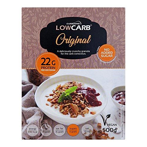 Granola baja en carbohidratos de CarbZone | Cereales de granola crujientes originales | Aperitivos y orgánicos sin gluten - 500 g