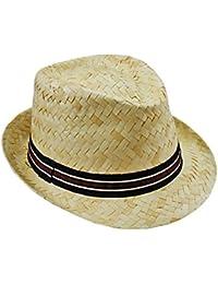 EveryHead Fiebig Cappello di Paglia da Uomo Paglietta Trilby Fedora Estate  Spiaggia Coneflower Rafia Vacanza con Fascia A Costine per Uomini… cf66cc2c76da