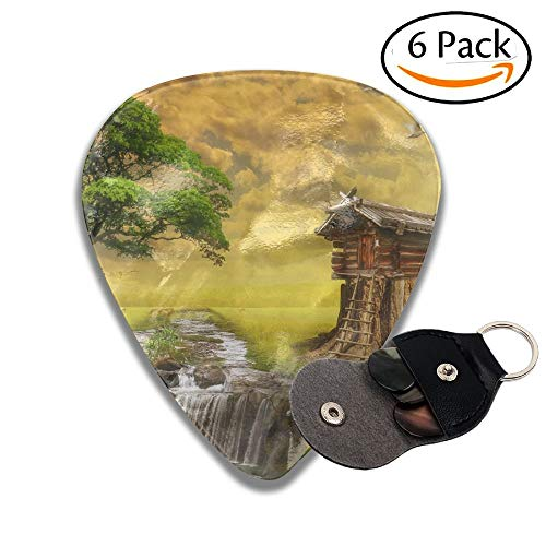 Fairy House By The Lake Illustration Of A Fictional Situation In The Form Collage Of Photos Colorful Celluloid Guitar Picks Plectrums For Guitar Bass 6 Pack.71mm -