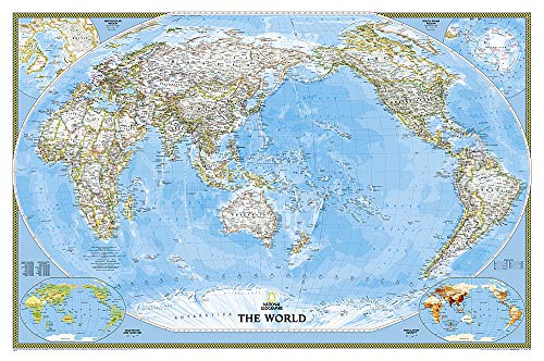 world classic, pacific centered: wall maps world