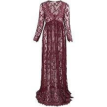 Kate Kasin® Vestido de Mujeres Embarazadas Cuello en V Profundo Ver a Través Vestido Maxi