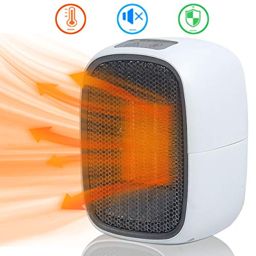 Ukeer termoventilatore elettrico, termoventilatore ceramico stufetta elettrica portatile mini 500w riscaldatore con protezione da surriscaldamento per camera da letto/ufficio, riscaldamento rapido