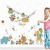 RUQIANGTIE Waldtiere Party Wandaufkleber Für Zimmer Happy Everyday Diy Wohnkultur Wandtattoos Elefanten Wandbild Cover Art Poster