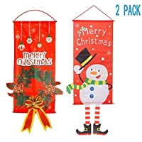 Syjinghao 2 Pack Christmas Hanging Cloth Flag,Seasonal Fabric Wall Hanging Holiday Décor Door Window Decorations for Christmas Ornament,Merry Christmas & Christmas Wreath