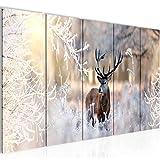 Bilder Winter Hirsch Wandbild 200 x 80 cm - 5 Teilig Vlies - Leinwand Bild XXL Format Wandbilder Wohnzimmer Wohnung Deko Kunstdrucke Weiß - MADE IN GERMANY - Fertig zum Aufhängen 004155a