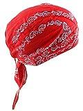 Sport mit Kopfbedeckungen Schnell Dry Sun UV-Schutz Radfahren Bandana Laufen Beanie Bike Motorrad Skull Cap unter Helm, Cotton Bandana-Red