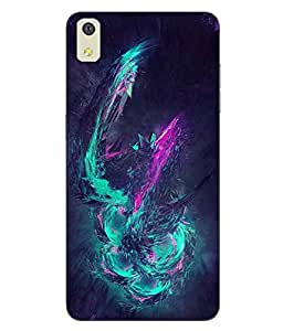 Make My Print Abstract Printed Blue Soft Back Cover For LYF WATER 8