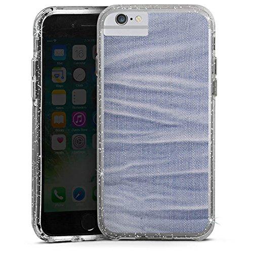 Apple iPhone 6 Plus Bumper Hülle Bumper Case Glitzer Hülle Jeans Stoff Style Fashion Bumper Case Glitzer silber