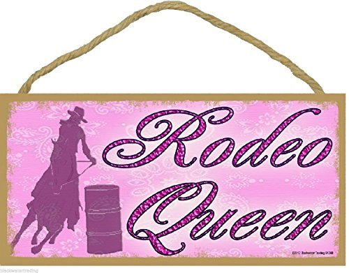 Rodeo Queen Cowgirl Horse Western Style Pink 5x10 Sign Plaque by Blackwater Trading (Cowgirl Rodeo Western)