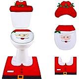 SPECOOL 4pc Decoración de Navidad Santa WC Set, Navideñas Accesorios Funda de Asiento de Inodoro de Navidad with Tapa Del Ino