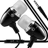 i-Tronixs (Schwarz) Vernee Thor 4G Handy Stilvolle Qualität Aluminium In-Ear-Ohrhörer Stereo-Freisprecheinrichtung Kopfhörer Ohrtelefon Headset mit eingebautem Mikro-Telefon Mic und On-Off