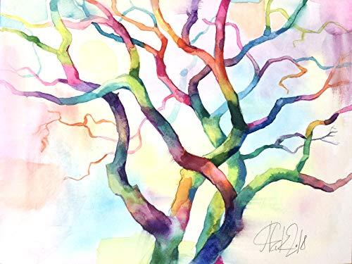 Original Aquarell abstrakter Baum, Landschafts-Bild, Baum Illustration, bunte Wandekoration, Malerei, Wandbild Baum abstrakt -