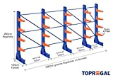 Kragarmregal KR6000 für extrem schwere Lasten, 1000kg/Arm, 3000kg/Ständer, Breite 5,9m, Höhe: 2m, Armtiefe 75cm, 4 Ebenen, einseitig, Langgutregal