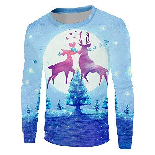 Ai Ya-weiyi Noël Flocon Hiver Hommes Pull Imprimé 3D Lune Pourpre Homme Wapiti Animal Lovel Big Size Sweatshirt
