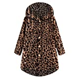 CATSAP Women Button Leopard Coat Fluffy Tail Tops Hooded Pullover Loose Sweater