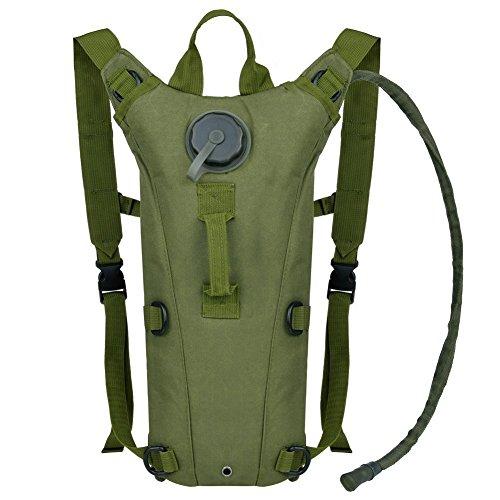 Promiseperfect randonnée Packs d'hydratation avec poche à eau 2.5L, vert militaire
