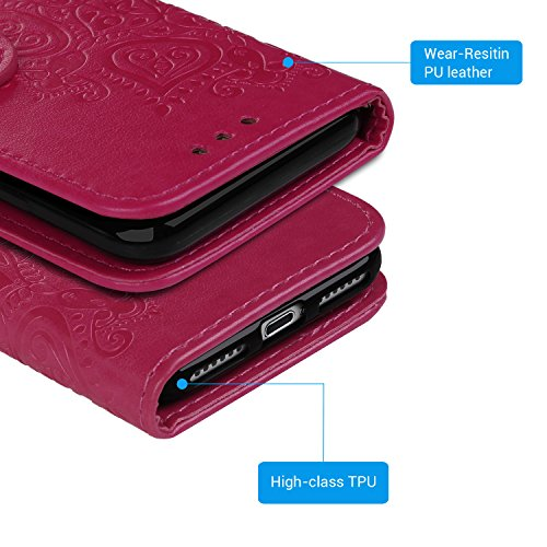 iPhone 7 Hülle,Leder Flip Wallet Cover in Book Style Stand Case Card Slot Leder Tasche Case Karteneinschub TPU Innen 2 Combo Separate Karteneinschub und Magnetverschluß Kratzfestes und Schmutzunempfin Rose Red