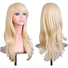 Falamka peluca larga onda para mujeres fiesta pelucas coloridas (rubia)