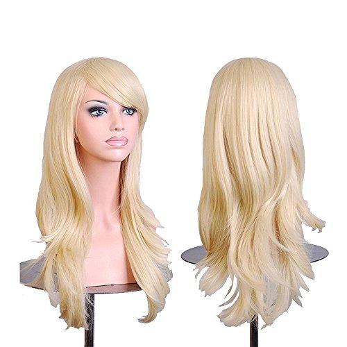 Falamka langes gewelltes Haar Hitzebeständiges Licht Blondes Cosplay Perücke (Blondes Haar Spray Kostüm)