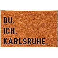 DU. ICH. KARLSRUHE. Kokos-Fußmatte Fußabtreter Teppich 40x60 cm Geschenk Umzug Geburtstag