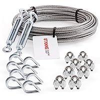 Seilwerk STANKE - Cable de acero trenzado galvanizado de 3mm, 6x 7, 2 tensores M5, anilla + gancho, 8 guardacabos, 8 abrazaderas –Juego de 5