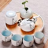 PEIEI- Tee-Set Keramik Teekanne Tasse Haushalt Moderne Einfache Wasserspeicher Mini Runde Tee Tablett Runde Geschenkbox Ein Topf Von Vier Tassen Anzug (8er Set)