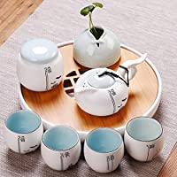 PEIEI  Tee Set Keramik Teekanne Tasse Haushalt Moderne Einfache  Wasserspeicher Mini Runde Tee Tablett