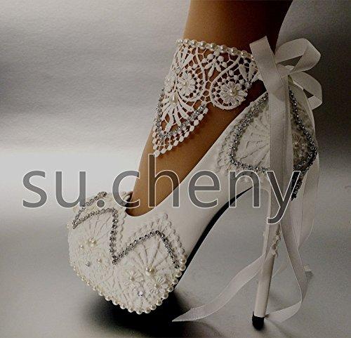 JINGXINSTORE Alta la luce bianca in pizzo nastro piattaforma caviglia scarpe matrimonio dimensioni White