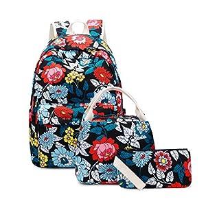 Joymoze Mochila Escolar para Niña Adolescente con Bolsa Térmica para el Almuerzo y Estuche Flor Azul