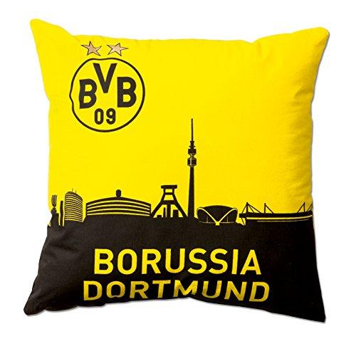 Borussia Dortmund BVB Kissen Skyline, Polyester, Schwarz/Gelb, 40 x 40 x 5 cm